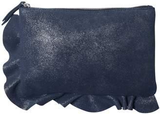 Oliver Bonas Asymmetric Ruffle Leather Clutch Bag