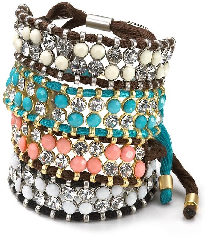 Aqua Two-Row Beaded Bracelet
