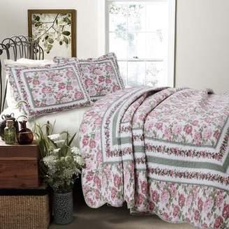 Cozy Line Home Fashion Rose Bush 3 Piece Quilt Set
