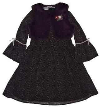 Blueberi Boulevard Dress and Fur Vest, 2-Piece Set (Little Girls)