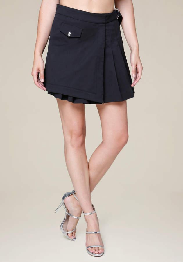 Pleated Mock Wrap Miniskirt