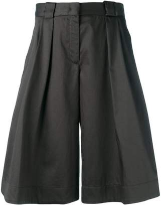 Jil Sander Navy shiny wide leg shorts