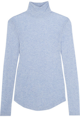 J.Crew - Tencel And Cashmere-blend Turtleneck Sweater - Light blue $100 thestylecure.com
