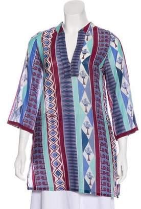 Le Sirenuse Printed Long Sleeve Tunic
