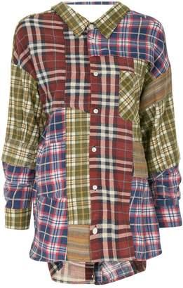 Miharayasuhiro tartan patchwork shirt