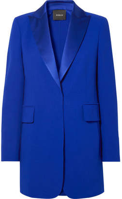 Akris Oversized Satin-trimmed Wool-blend Blazer - Royal blue
