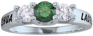 FINE JEWELRY Personalized Simulated Birthstone and Cubic Zirconia 3-Stone Engraved Ring