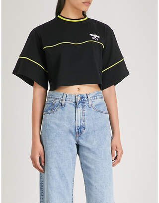 Boy London Ladies Lime Yellow and Black Logo-Print Cotton-Jersey Crop Top