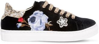 MonnaLisa Floral Embroidered Velvet Sneakers
