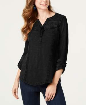 Style&Co. Style & Co Cotton Crochet-Trim Roll-Tab Top, Created for Macy's
