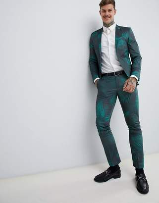 Twisted Tailor super skinny suit pants with leaf print