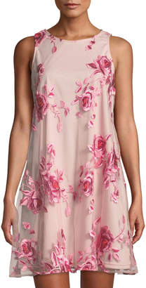 Label By 5twelve Embroidered-Mesh Tie-Back A-Line Dress