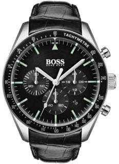 BOSS Black-dial chronograph watch with embossed leather strap