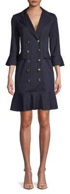 Gabby Skye Pinstriped Ruffle Shirt Dress