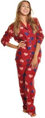 Angelina Womens Cozy Long Sleeve Pajama Set   2 Piece   Sleepwear   Loungewear   Fleece   L