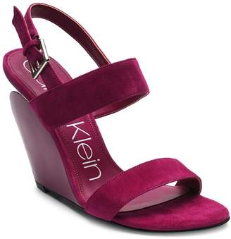 Calvin Klein Leslie Suede Wedge Sandals