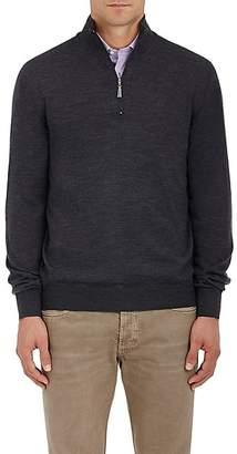Barneys New York Men's Virgin Wool Mock-Turtleneck Zip-Front Sweater - Charcoal