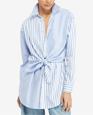 Polo Ralph Lauren Tie-Front Striped Cotton Shirt