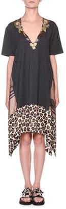 Antonio Marras Leopard-Print Hem T-Shirt Dress