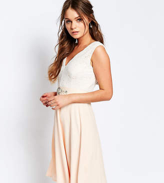 Elise Ryan Midi Dress With Lace Bodice And Embellished Waist