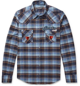 Dolce & Gabbana Slim-fit Appliquéd Embroidered Checked Cotton-flannel Shirt - Light blue