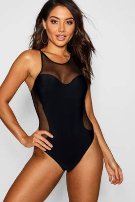 boohoo Brooklyn Mesh Racer Back Swimsuit