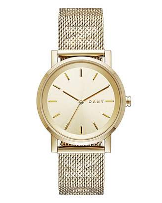 DKNY Ladies Gold Mesh Strap Watch