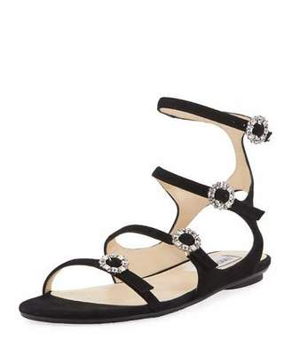 Jimmy Choo Naia Suede Flat Sandal with Crystal Buckles, Black