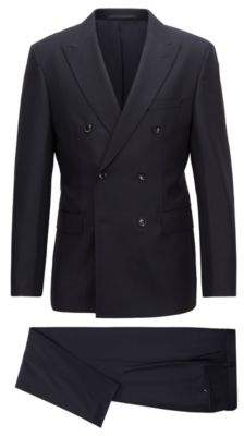 BOSS Hugo Slim-fit Tailored double-breasted suit in virgin wool 42R Open Blue
