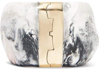 Dinosaur Designs Bold Stone Resin And Gold-tone Bracelet - Gray