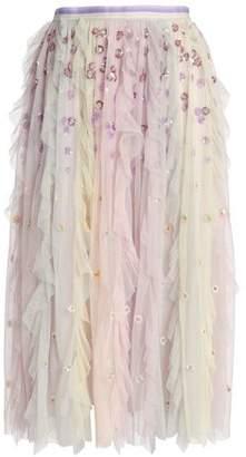 Needle & Thread Rainbow Embellished Ruffled Tulle Midi Skirt