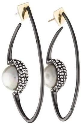 Alexis Bittar Floating Faux Pearl Hoop Earrings