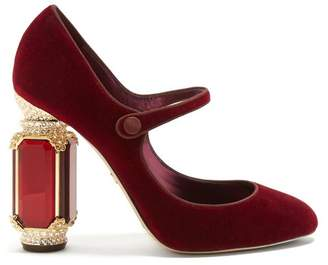 Dolce & Gabbana Crystal Embellished Mary Jane Velvet Pumps - Womens - Burgundy