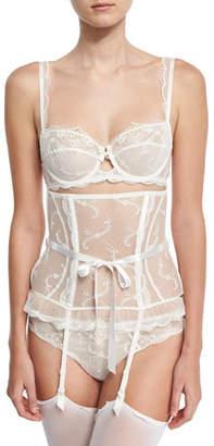 Lise Charmel Orchid Paradis Waspie Suspender Garter Belt, Ivory $227 thestylecure.com