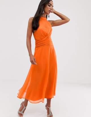 35a783a8568a Asos Design DESIGN midi dress with high neck and drape waist detail