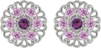 Swarovski Lucia Costin Silver, Violet, Lilac Crystal Earrings, Fancy Ornamented