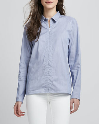 Theory Bida Striped Zip Blouse