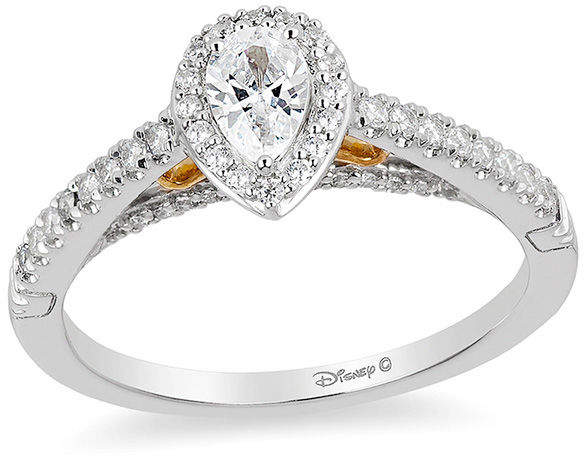 Zales Enchanted Disney Merida 1/2 CT. T.W. Pear-Shaped Diamond Frame Engagement Ring in 14K Two-Tone Gold