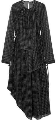 Loewe Asymmetric Polka-dot Chiffon Midi Dress - Black