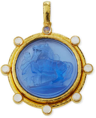 Elizabeth Locke Ancient Horse Antique 19k Gold Intaglio Pendant, Cerulean