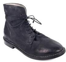 Marsell Mens Smoke Black Worn Leather Grupiatta Combat Boots.