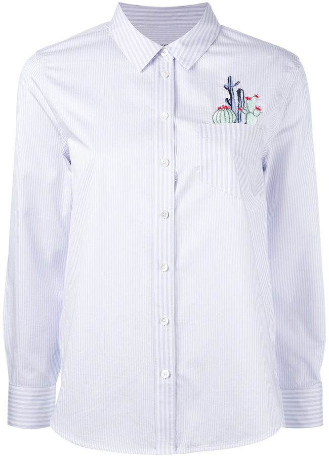 Equipment Equipment striped embroidered pocket shirt