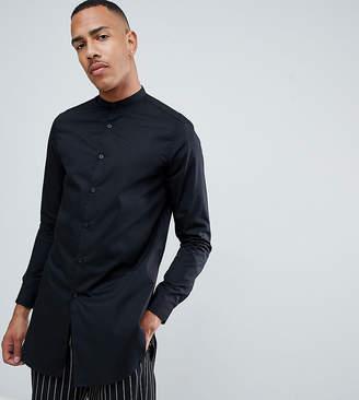 Asos DESIGN Tall regular fit super longline shirt with grandad collar in black