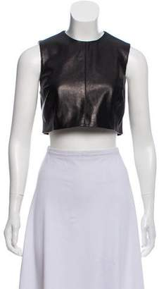 Ji Oh Leather Cropped Top