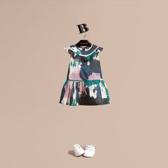 Burberry Painterly Print Ruffle Trim Cotton Dress $250 thestylecure.com