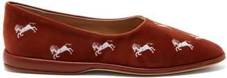 Chloé Skye embroidered velvet slippers