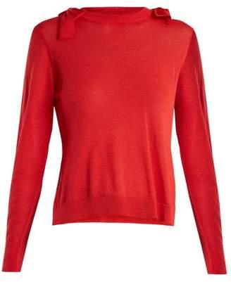 Simone Rocha - Bow Detail Fine Knit Sweater - Womens - Red
