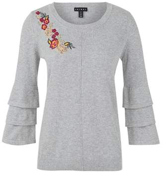 Tribal Embroidered Sweater 3/4-Sleeve