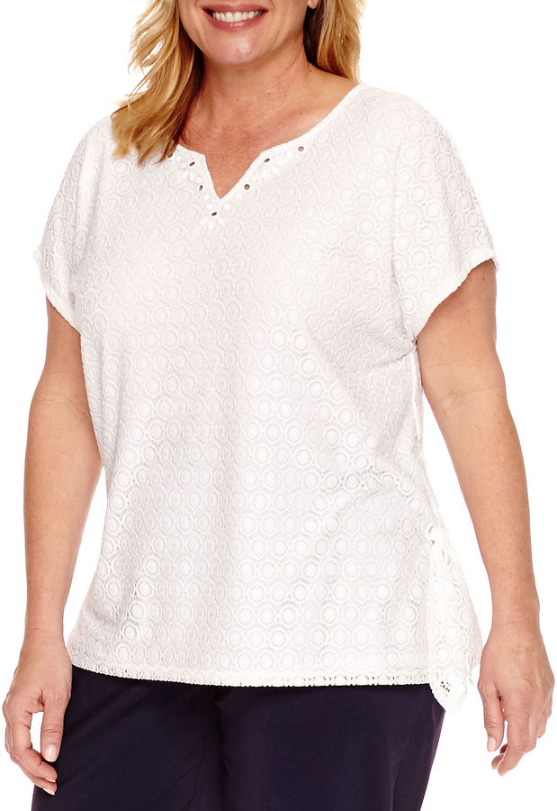 Alfred DunnerAlfred Dunner Seas The Day Short Sleeve Split Crew Neck T-Shirt-Plus
