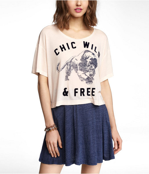 Express Relaxed Cropped Graphic Tee - Wild Tiger